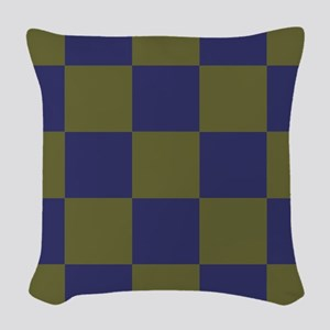 Blue and Olive Checkerboard Woven Throw Pillow