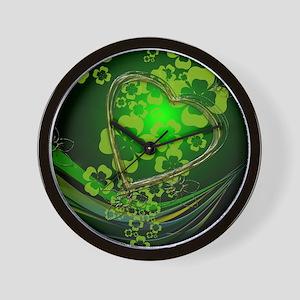 Heart And Shamrocks Wall Clock