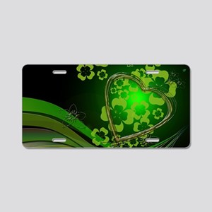Heart And Shamrocks Aluminum License Plate
