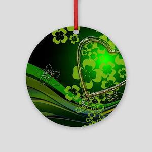 Heart And Shamrocks Ornament (Round)