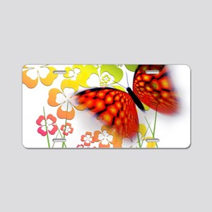 Butterfly With Shamrocks Aluminum License Plate