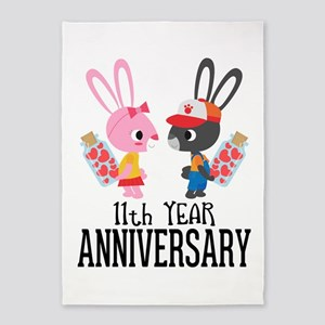 11th Anniversary Couple Bunnies 5'x7'Area Rug