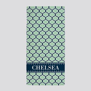 Mint Navy Blue Lattice Pattern with Name Beach Tow