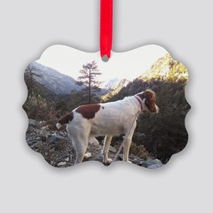 Brittany Spaniel Hiking Picture Ornament