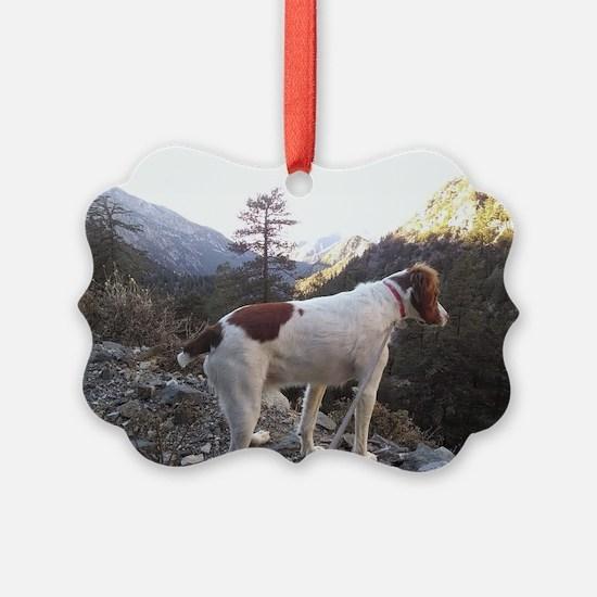 Brittany Spaniel Hiking Ornament