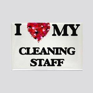 I love my Cleaning Staff hearts design Magnets