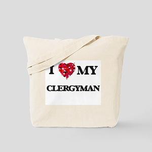 I love my Clergyman hearts design Tote Bag