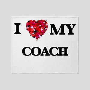 I love my Coach hearts design Throw Blanket