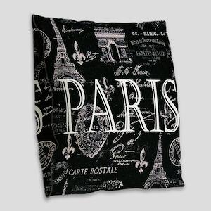 Paris Black and White Burlap Throw Pillow