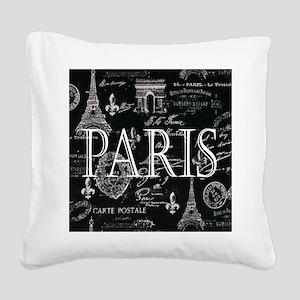 Paris Black and White Square Canvas Pillow