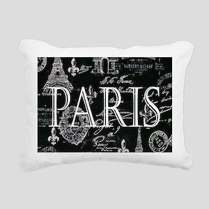 Paris Black and White Rectangular Canvas Pillow