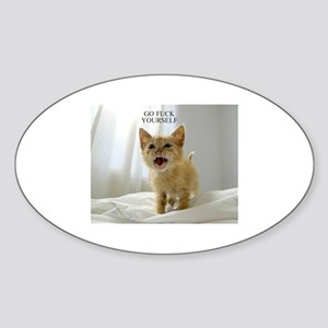 Early Morning Kitty Sticker (Oval)