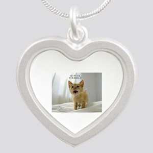 Early Morning Kitty Silver Heart Necklace