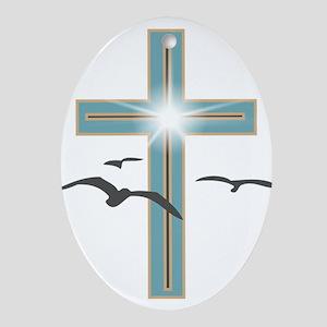 Glowing Cross 1 Ornament (Oval)