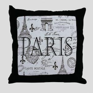 Paris White and Black Throw Pillow