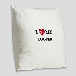 I love my Cooper hearts design Burlap Throw Pillow