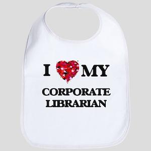 I love my Corporate Librarian hearts design Bib