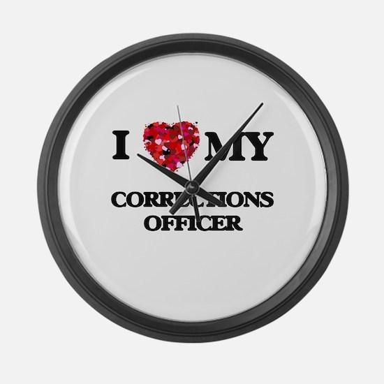 I love my Corrections Officer hea Large Wall Clock