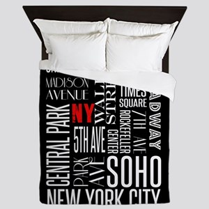 NY Streets Balck and White Queen Duvet