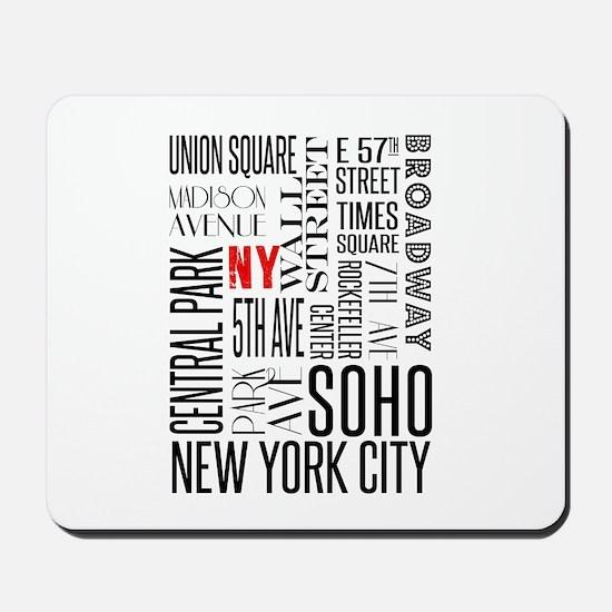 NY Streets White and Black Mousepad