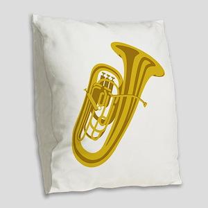 Tuba Burlap Throw Pillow