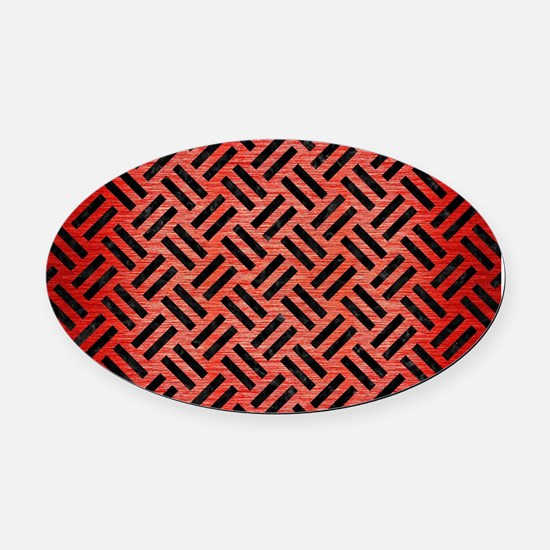 WOVEN2 BLACK MARBLE & RED BRUSHED Oval Car Magnet