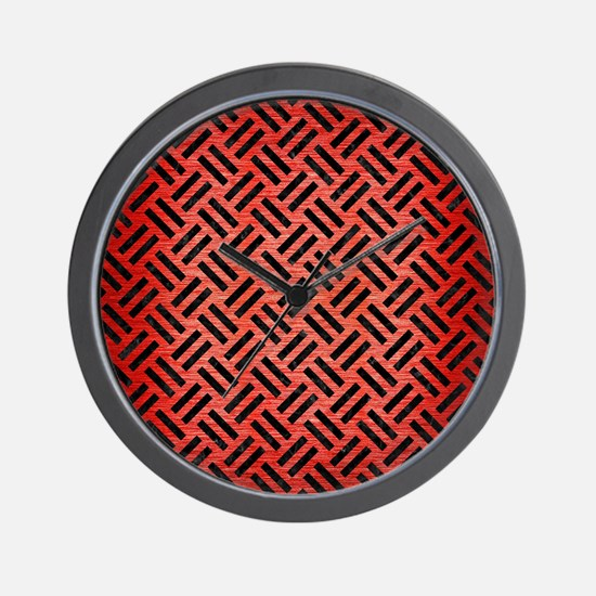 WOVEN2 BLACK MARBLE & RED BRUSHED METAL Wall Clock