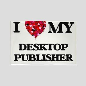 I love my Desktop Publisher hearts design Magnets