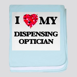 I love my Dispensing Optician hearts baby blanket