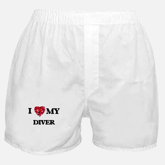 I love my Diver hearts design Boxer Shorts