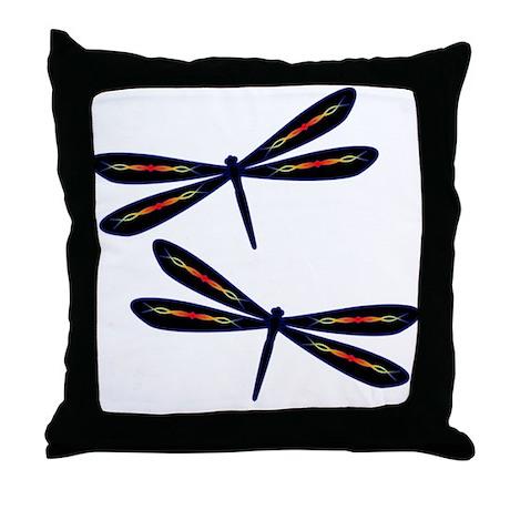 Hot rod Dragonflies Throw Pillow