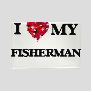 I love my Fisherman hearts design Magnets