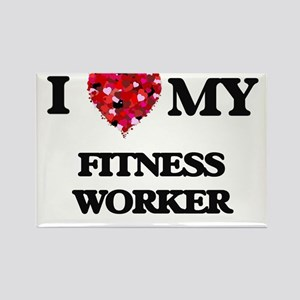 I love my Fitness Worker hearts design Magnets