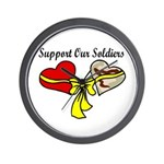 2 Hearts Support Our Soldiers OIF Love Wall Clock