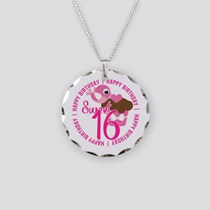 Sweet 16th Birthday Necklace Circle Charm