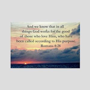ROMANS 8:28 Rectangle Magnet