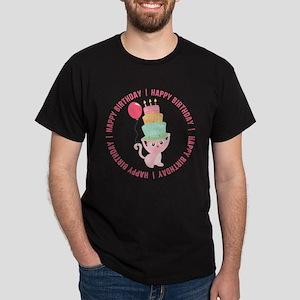 Cute Cat Balloon Birthday Dark T-Shirt