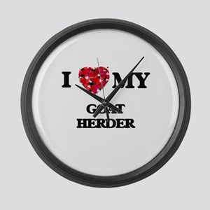 I love my Goat Herder hearts desi Large Wall Clock