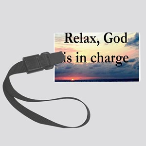 GOD IS IN CHARGE Large Luggage Tag