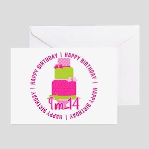 14th Birthday Pink Cake Greeting Card