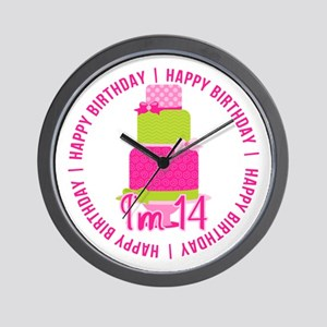 14th Birthday Pink Cake Wall Clock