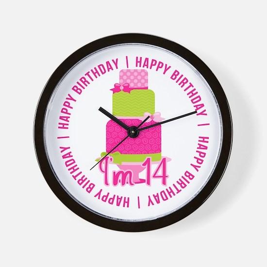14th Birthday Pink Cake Wall Clock