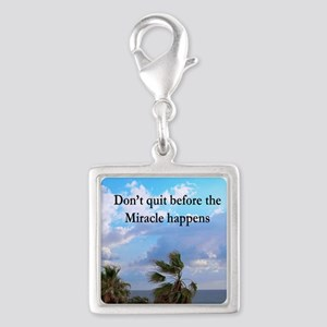 MIRACLES HAPPEN Silver Square Charm