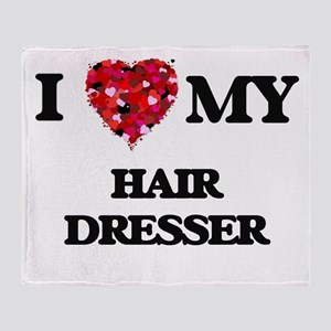 I love my Hair Dresser hearts design Throw Blanket