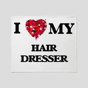 I love my Hair Dresser hearts design Throw Blanket