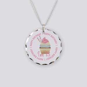 13th Birthday Cupcake Necklace Circle Charm