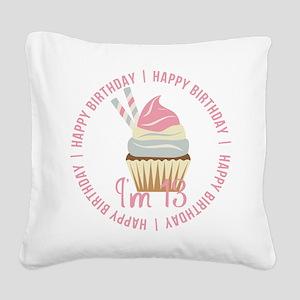 13th Birthday Cupcake Square Canvas Pillow