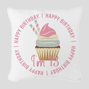 13th Birthday Cupcake Woven Throw Pillow