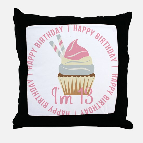 13th Birthday Cupcake Throw Pillow