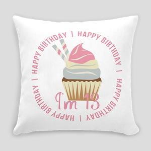 13th Birthday Cupcake Everyday Pillow